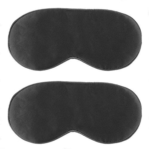 (2 Pack) GIFT JunRui Natural Silk Sleep Mask & Blindfold, Super-Smooth Eye Mask for Kids, Women and Men - for Home & Travel Use