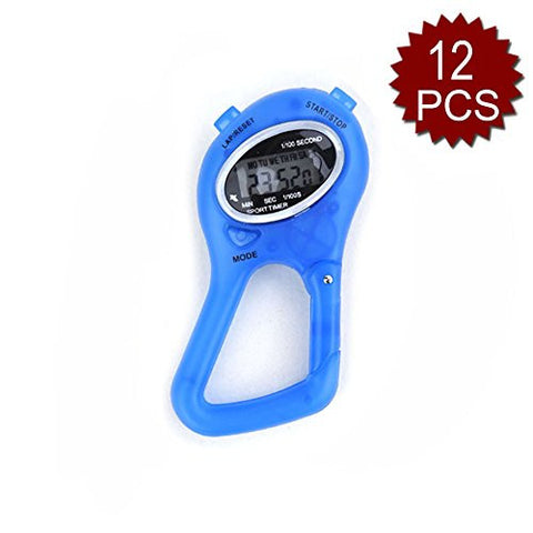 "(Price/12 PCS) GOGO Stop Watch with Carabiner - BLUE, 3 1/2"" L x 2/3"" W - Blue"