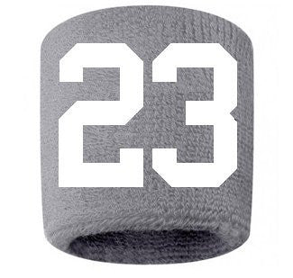 #23 Embroidered/Stitched Sweatband Wristband GRAY Sweat Band w/ WHITE Number (2 Pack)