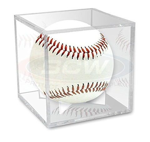 (4) Ballqube Baseball Display UV Grandstand Case Clear Stackable Square Cube Holder