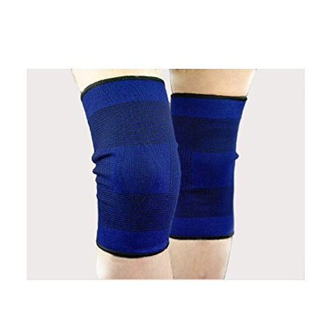 (Qty.2) Blue Knee Support Brace Leg band Kneepad Fitness Sports Gym