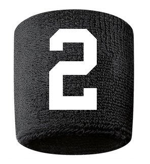 #2 Embroidered/Stitched Sweatband Wristband BLACK Sweat Band w/ WHITE Number (2 Pack)