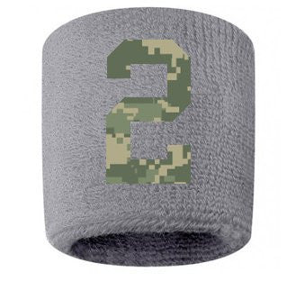 #2 Embroidered/Stitched Sweatband Wristband GRAY Sweat Band w/ CAMOUFLAGE CAMO Number (2 Pack)