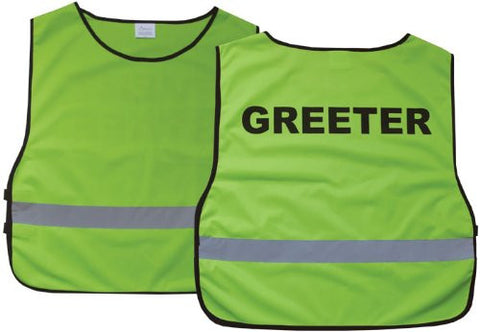 """Greeter"" Lime Green Reflective Safety Vest"