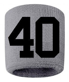 #40 Embroidered/Stitched Sweatband Wristband GRAY Sweat Band w/ BLACK Number (2 Pack)