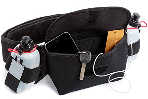 Active Vibe Hydration Running Belt With 10 oz Water Bottles Included- BPA Free - Easily Adjustable- Carrying Pouch For Your Phone, Keys & Personal Belongings- Lightweight Design