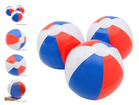 "(12) 16"" Patriotic Red, White, & Blue Beach Ball Inflates ~ A SURE SUMMER HIT!"