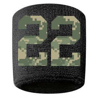 #22 Embroidered/Stitched Sweatband Wristband BLACK Sweat Band w/ CAMOUFLAGE CAMO Number (2 Pack)