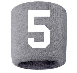 #5 Embroidered/Stitched Sweatband Wristband GRAY Sweat Band w/ WHITE Number (2 Pack)