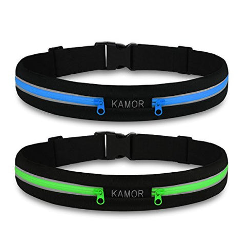 (2 Pack) Kamor Running Belts / Exercise Runner Belt / Waist Packs for Apple iPhone 6, 6 plus, 5, 5s, 5c, Samsung Galaxy ? for Men, Women during Workouts, Cycling, Hiking, Walking, Running, Fitness