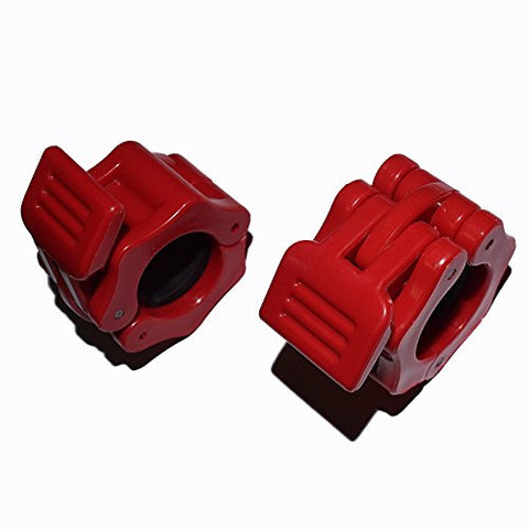 1 Inch Locking Olympic Standard Size Diameter Barbell Clamps ABS Locking Collars Clamp For 25mm Barbells (Red, 1 Pair)
