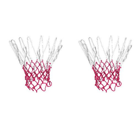 2 Pcs 12 Loop Nylon Braided String Knotted Red White Basketball Nets