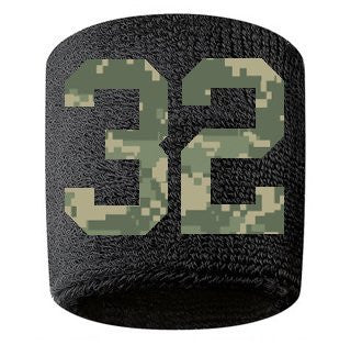 #32 Embroidered/Stitched Sweatband Wristband BLACK Sweat Band w/ CAMOUFLAGE CAMO Number (2 Pack)