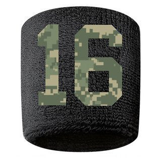 #16 Embroidered/Stitched Sweatband Wristband BLACK Sweat Band w/ CAMOUFLAGE CAMO Number (2 Pack)