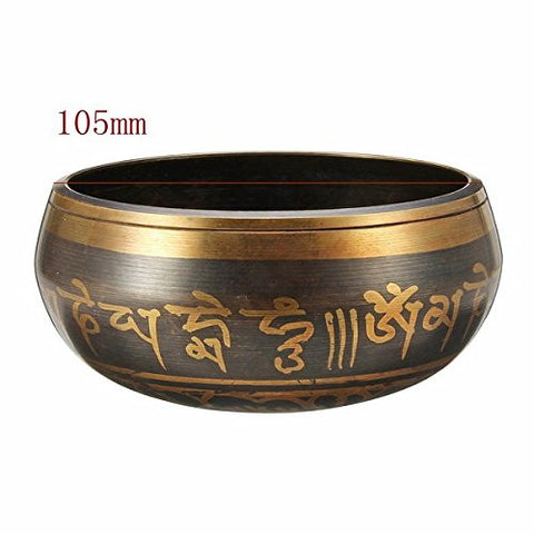 105mm Tibetan Yoga Singing Bowl Brass Buddhism Chime Resonance Meditation Chakara