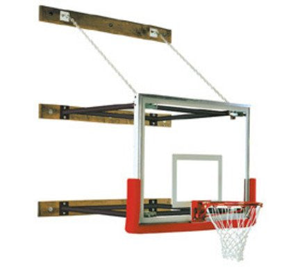 "109"" - 132"" Extension Wall-Braced Stationary Basketball Backstop from Spalding"