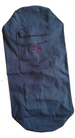 """Om"" Extra Large Cotton Canvas Yoga Mat Bag (Navy)"