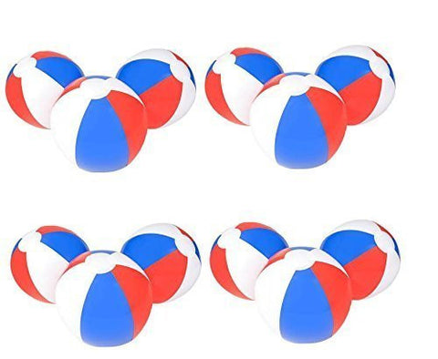 (12) 12'' PATRIOTIC Beach Balls ~ RED WHITE & BLUE Beach Ball Inflates ~ Patriotic Beachballs ~ Pool Decor Favor Water Outdoor Birthday Fourth July Wedding Celebration ~ 4TH Independence Day by RN