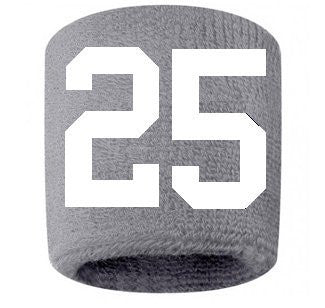 #25 Embroidered/Stitched Sweatband Wristband GRAY Sweat Band w/ WHITE Number (2 Pack)