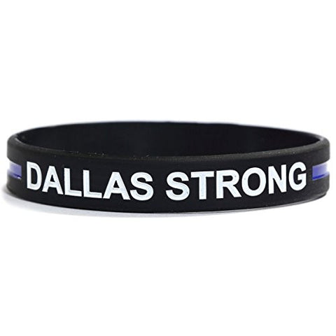 1 DALLAS STRONG Thin Blue Line Silicone Wristband Bracelets Police Officers Patrol Awareness Support