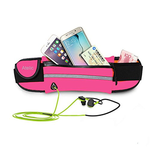 "#1 TOP RATED WAIST BELT, Atelic® Flip with Earphone Hole Running Runner Money Belt Waist Pack Bag Fitness for Exercise, Running, Hiking, Travel iPhone 6"" Size Adjustable Water Resistant Waterproof"