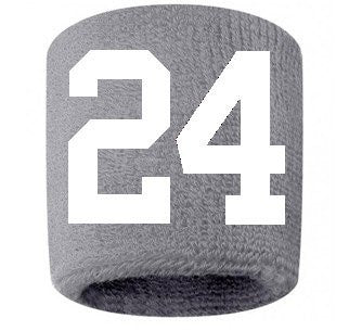 #24 Embroidered/Stitched Sweatband Wristband GRAY Sweat Band w/ WHITE Number (2 Pack)