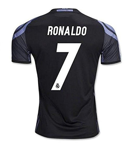 #7 Ronaldo Real Madrid Third Kid Soccer Jersey & Matching Shorts Set 2016-17, Black,Youth L (10 to 12 Years Old)