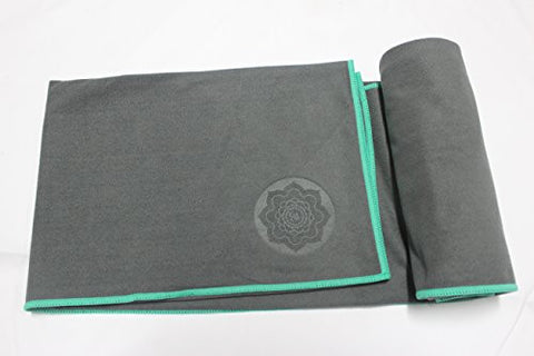 #1 Best NON Slip Suede HOT Yoga Towel- By Aquafer- Special Ear Conrers to Make Your Towel Stay Put- 100% Microfiber, Anti-slip, Best Bikram / HOT Yoga Towel, Best Camping / Outdoor Towel, Lifetime Guarantee to Worth the Purchase! (Thunder, Standard)