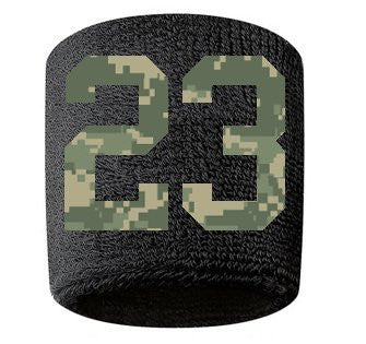 #23 Embroidered/Stitched Sweatband Wristband BLACK Sweat Band w/ CAMOUFLAGE CAMO Number (2 Pack)
