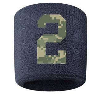 #2 Embroidered/Stitched Sweatband Wristband NAVY BLUE Sweat Band w/ CAMOUFLAGE CAMO Number (2 Pack)