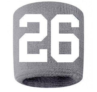 #26 Embroidered/Stitched Sweatband Wristband GRAY Sweat Band w/ WHITE Number (2 Pack)