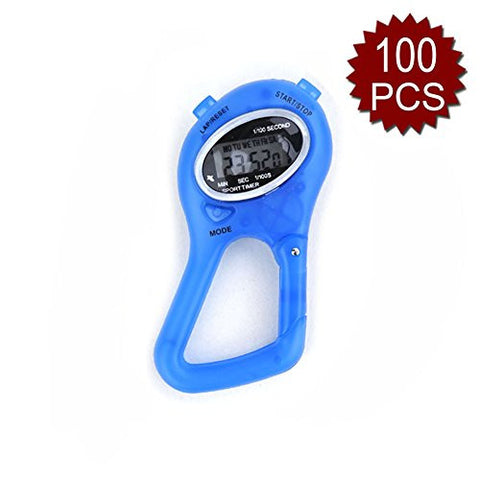 "(Price/100 PCS) GOGO Stop Watch with Carabiner - BLUE, 3 1/2"" L x 2/3"" W - Blue"