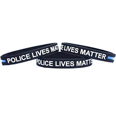 1 POLICE Lives Matter Thin Blue Line Silicone Wristband Bracelets Police Officers Patrol Awareness Support