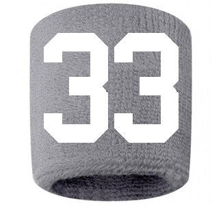 #33 Embroidered/Stitched Sweatband Wristband GRAY Sweat Band w/ WHITE Number (2 Pack)