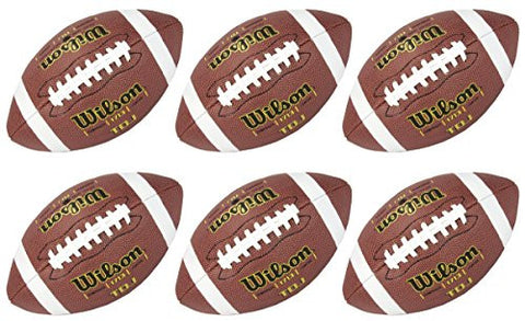 (6) WILSON WTF1713 TDJ Junior Size Soft Composite Leather HD Grip Game Footballs