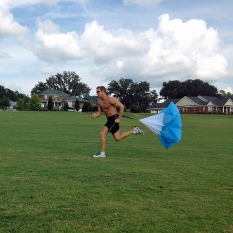 "48"" Speed Running Power Chute Speed Training Resistance Exercise Parachute Blue"