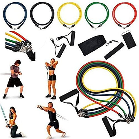 """Resistance Band Set Yoga Pilates Abs Exercise Fitness Tube Workout Bands 11 PCS:New free shipping by WW shop"