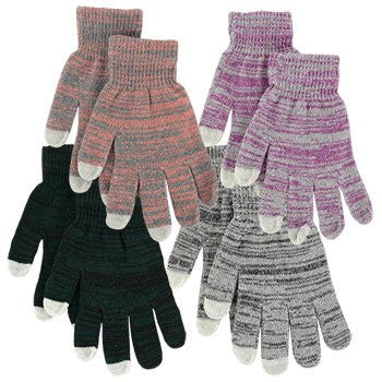 (4 Pack) Ladies' Touch-Screen Patterned Gloves