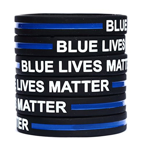 10 Blue Lives Matter Thin Blue Line Silicone Wristbands SayitBands Brand