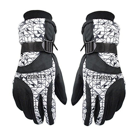 (Black/White)Men's Soft Waterproof Sports Gloves Windproof Skiing/Cycling Gloves
