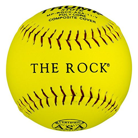 "1 Dozen ASA Trump The Rock 11"" Softballs - 44cor/.375 Compression (MP-ROCK-ASA-11-Y) 12 Balls"