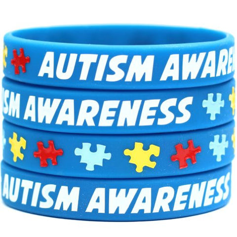 1 Autism Awareness Wristband - Silicone Bracelet with Puzzle Pieces