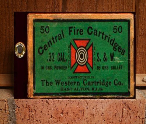 .32 cal ammo box western cartridge co. antique Professionally Reprinted on Glossy Aluminum