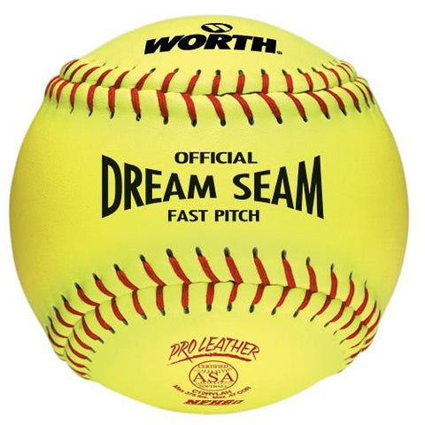 "(1-Ball) ASA 12"" Softball Worth Dream Seam Official Fastpitch Yellow Pro Leather Ball"