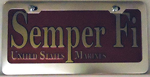 "1 , "" SEMPER FI "" , United States Marines , Metal Sign , Enclosed in a Silver Anodized Aluminum Holder,+27B3.4+13B5.6+0555+"