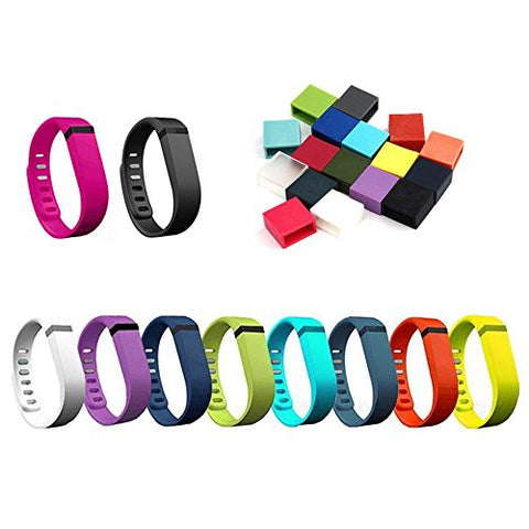 10pcs Large Colorfull Replacement Wrist Bands with Clasps with 17pcs Silicone Security Loop for Fitbit FLEX Only /No tracker