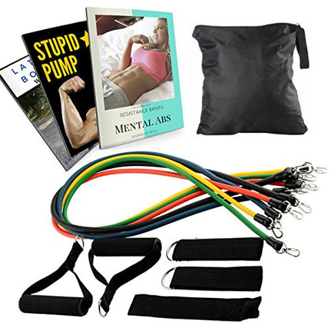 #1 Rated Resistance Band Set. 11 Pc Set with up to 75 Pounds of Resistance. Top Rated Resistance Bands for Legs. Includes the Most Resistance Band Workouts.
