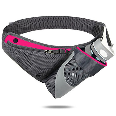 A.B Crew Hydration Running Belt Sports Fitness Workout Waist pack with Holder for Hiking, Walking, Jogging (Rose Red)