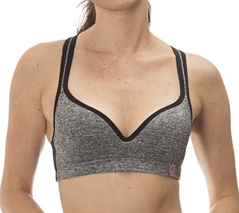 (501394JS) Jessica Simpson Womens Seamless Lace Trim Racerback Sports Bra in Black Size: Large
