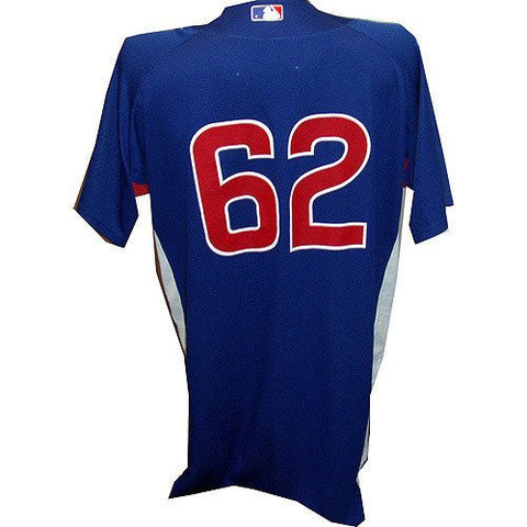 #62 2010 Cubs Game Used Spring Training Blue Batting Practice Jersey(46) - Licensed Sports Collectible